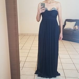 Navy Strapless Gown